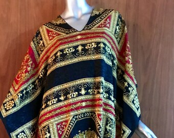 Vintage caftan dress, Ruth Norman for Neiman Marcus. One size, black, red, gold, long maxi length, v-neck 3/4 sleeve ethnic print