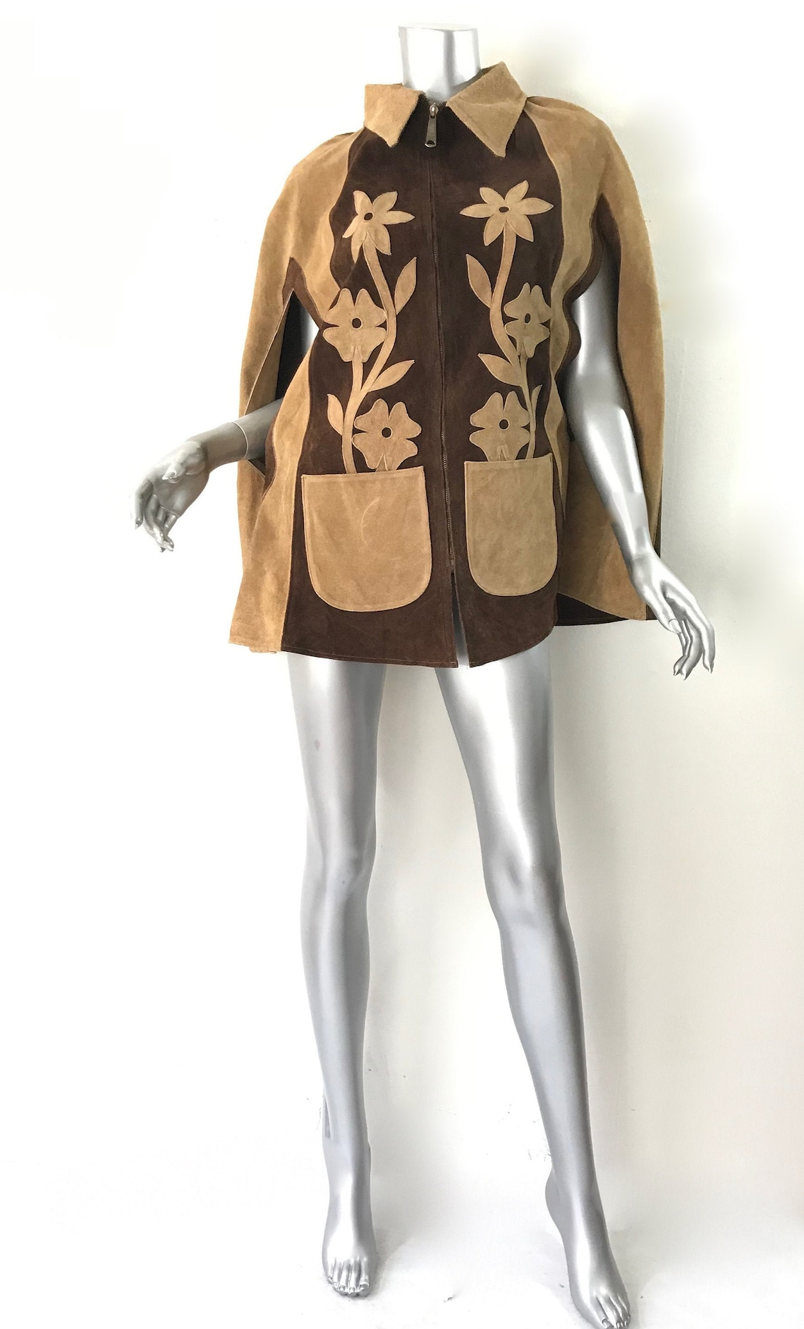 Vintage Brown Tan Suede Cape Poncho Coat Jacket Pockets Zip Front Collared 70's Festival Hippie Floral Flower