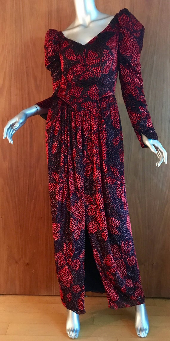 Long black red formal gown long sleeves, by Ruben