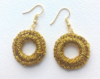 Crocheted Metallic Gold Hooped Earrings, Gold Plated Ear Wires, 30mm wide
