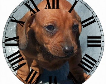 Paper Time Dial - Roman Font with Dachshund Pup