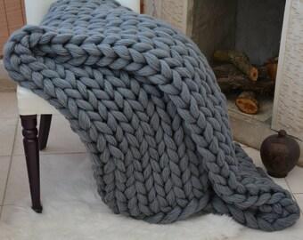 Chunky knit blanket, Lap Blanket, Chunky knit throw, Chunky knit Mohair Blanket,Gray Chunky Blanket Chunky blanket,Christmas Gift ,Xmas Gift