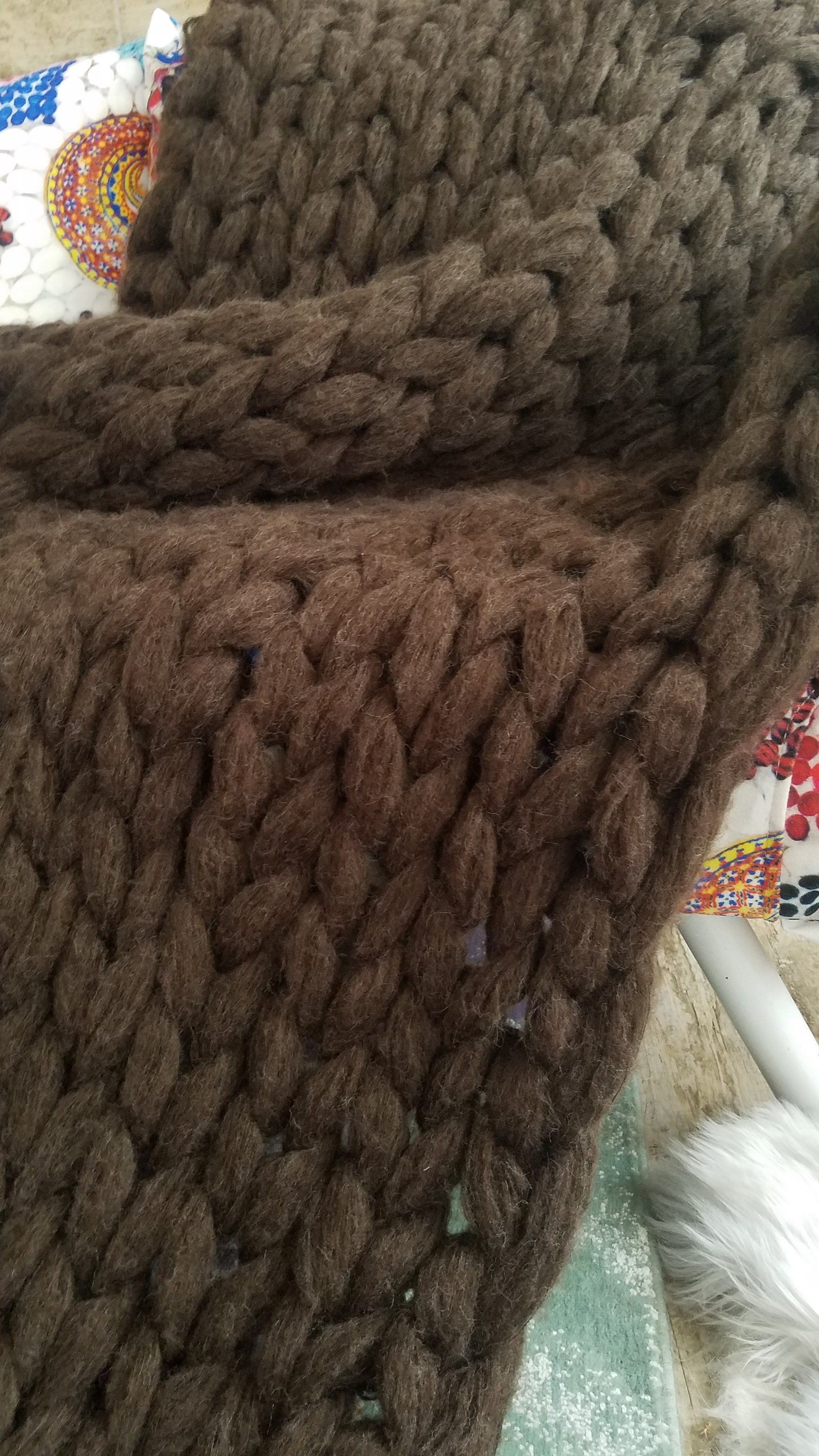 Brown Chunky Knit Blanket,40x60 inch,Christmas Gift, Home Decor,Throw Blanket,Chunky knit throw,Christmas Gift for Her, READY TO SHIP