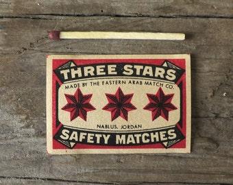 Three Stars Vintage Swedish Matchbox Label - Safety Matches - Made in Sweden