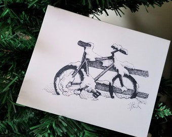 Snowy Bicycle Holiday Greeting Card   Ink Drawing Print With Seasons Greetings