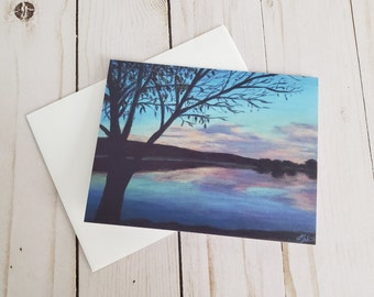 Cold Reflections Greeting Card   Acrylic Painting Print With Blank Inside