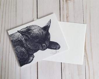 Black Kitten Greeting Card   Ink Drawing Print With Blank Inside