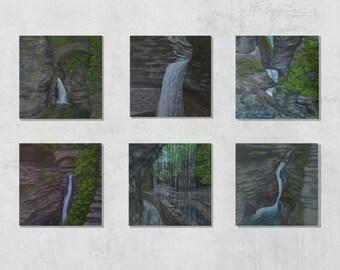 Watkins Glen State Park Collection   6x6   Wall Art   Acrylic on Wood Panel   6 Original Paintings