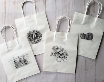 Holiday Gift Bags   Set of 4   Ink on White Paper Bag   Original Drawing