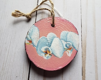 Orchids With Peach   Ornament   Acrylic on Wood   Original Painting