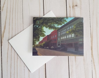 Downtown Greeting Card   Acrylic Painting Print With Blank Inside