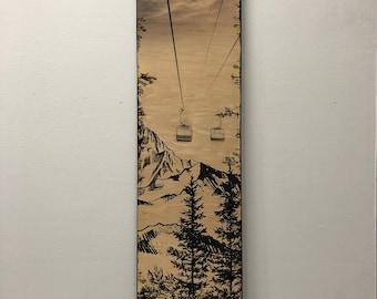 Winter Chairlift Artwork - Wood Art - Mountain Art - Ski snowboard lift - snowy mountains - snow art