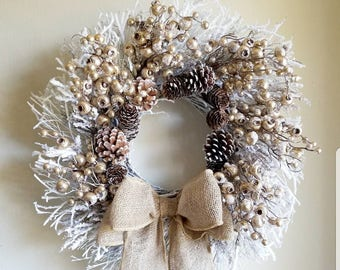 "22"" Snow Flocked Twig Winter Wreath Gold Berries Burlap Bow Rustic Wreath & Storage Box"