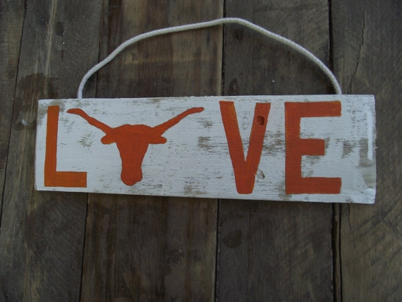 Texas Longhorn Sign University Of Texas Rustic Sign Etsy