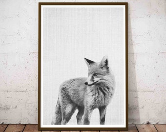 Nursery Forest Animal Print, Baby Fox Print, Forest Woodland Fox Animal Wall Art, Rustic Poster Decor, Printable Large Minimal Poster Art