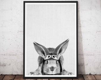 Rabbit Printable Art, Printable Nursery Bunny, Baby Rabbit Print Decor, Woodland Nursery Rabbit Print, Woodlands Art Set, Woodlands Decor