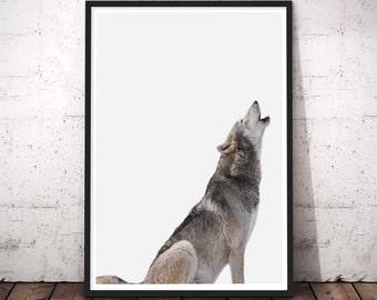 Wolf Print, Woodland Animal Print, Wolf Printable Wall Art, Large Modern Decor, Wolf Nursery Art, Woodland Wolf Decor, Downloadable Art