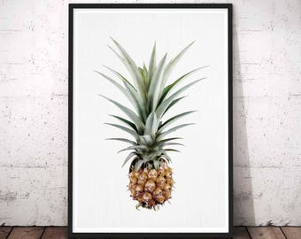 Pineapple Wall Art, Printable Pineapple Art, Gold Pineapple Wall Art, Pineapple Print, Pineapple Decor, Tropical Digital Art, Modern Decor