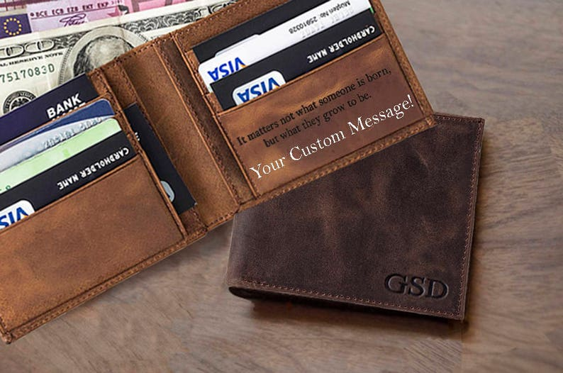 06359f42e76d Personalized Monogrammed Engraved Leather Bifold Mens Wallet