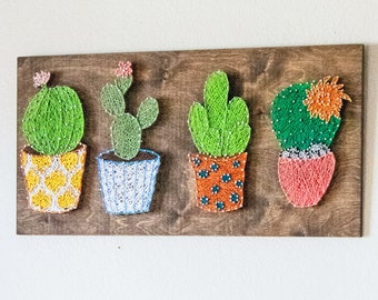 Four Cacti String Art Sign, plant lover Sign, Succulents in pots, colorful wall art