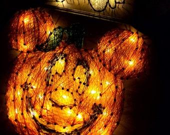 LED Light Up, Mickey Mouse Halloween Pumpkin String Art Sign,  disney halloween decorations