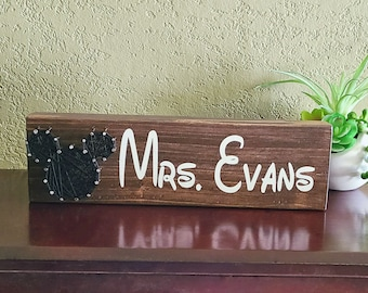 Mickey Mouse String Art Name Sign Personalized, hand painted desk sign, free standing name plate, custom wood sign