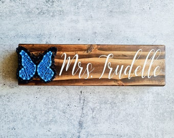 Blue Butterfly String Art Personalized Name Sign, cotton anniversary, hand painted, custom wood sign