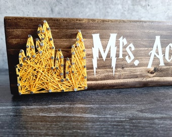 Personalized Hogwarts Desk Name Sign, cotton anniversary