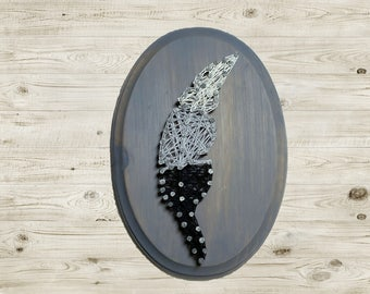 Feather String Art White Gray and Black Feather Art