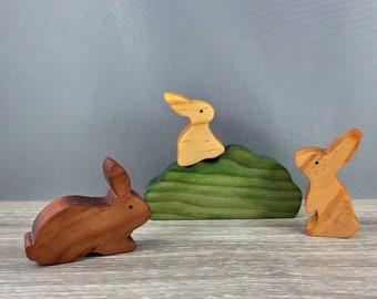 wooden rabbit, bunny toy, wooden toys, waldorf, steiner, montessori, natural toys,