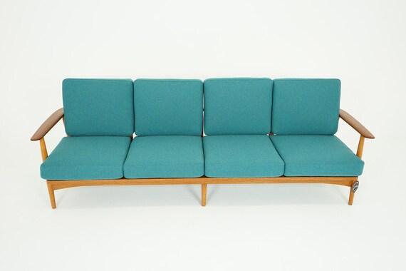 Danish Mid-Century Modern Teak Oak 4 Seat Sofa by Johannes   Etsy