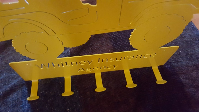 Custom metal Jeep coat rack family size
