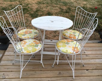 Set Of 4 Vintage Salterini White Mid Century Modern Metal Wire Frame Garden  Patio Chairs
