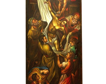 """Handpainted Icon of Jesus Christ's Descending - """"Apokathilosis"""", Old Wooden Door Layered with Sand"""
