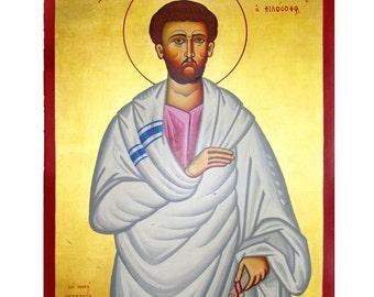 Saint Justin San Justino Martyr Icon, Hand Painted Christian Icon, Patron Saint, Church Traditional Icon, Greek Orthodox Icon,Spiritual Icon