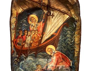 Handpainted Icon of Saint Nicholas on Wooden Antique Bowl, Patron Saint of Sailors, Collectible Art