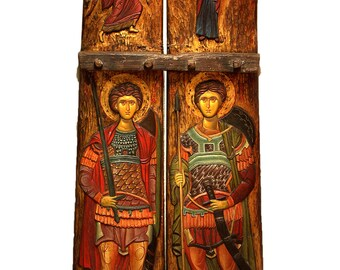Hand-painted/carved Icon on Antique Agricultural Tool of Annunciation and Saints George & Demitrius
