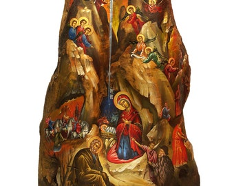 Hand-painted Icon on Tree Trunk Wood in Traditional Style of Nativity Of Jesus Christ