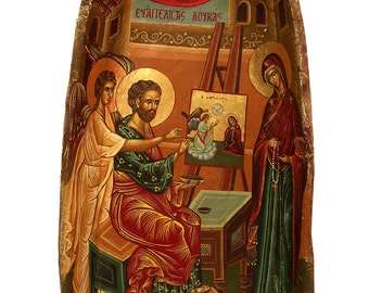Hand painted Icon of Evangelist Lucas and Virgin Mary on an Antique Wooden Bowl