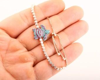 Glamorous Turtle! Turkish Handmade Jewelry Ruby Turquoise 925 Sterling Silver Tennis Bracelet