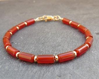 Sardonyx Agate & Gold Bracelet