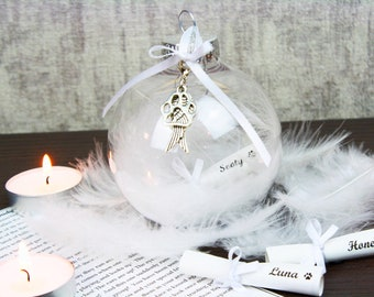 Pet Remembrance Bauble with Personalised Scroll / Remembrance Keepsake
