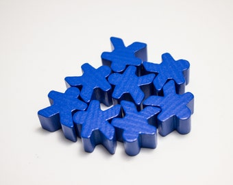 Blue Carcassonne Meeples Board Game Small People Pawn Pieces