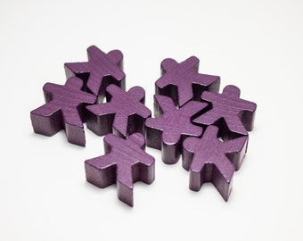 Purple Carcassonne Meeples Board Game Small People Pawn Pieces
