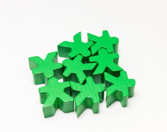 Green Carcassonne Meeples Board Game Small People Pawn Pieces