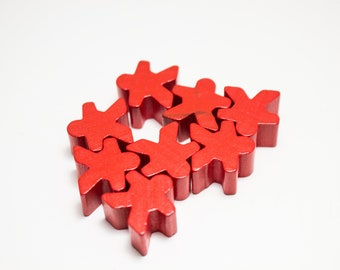 Red Carcassonne Meeples Board Game Small People Pawn Pieces