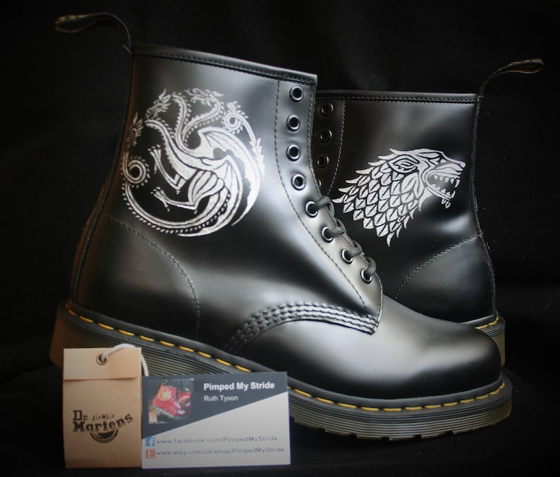 b64bfe591f3 Custom Game of Thrones Dr Martens boots Docs shoes   Etsy
