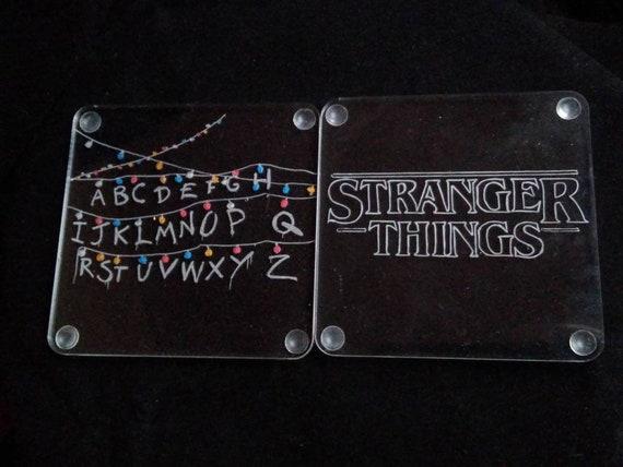 Stranger Things coasters, pair of beer mats, Christmas gift, boyfriend gift, drinks mat, Stranger Things fan gift, Eleven, Christmas lights