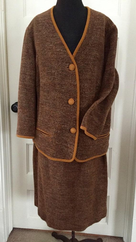 Vintage Brown Ladies Knit Suit By Koret of Califor