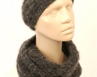 Headband with Infinity Scarf, Charcoal Fuzzy Infinity Scarf, Charcoal Headband, Gray Ear Warmers, Infinity Scarf, Cable Braid, Head Wrap